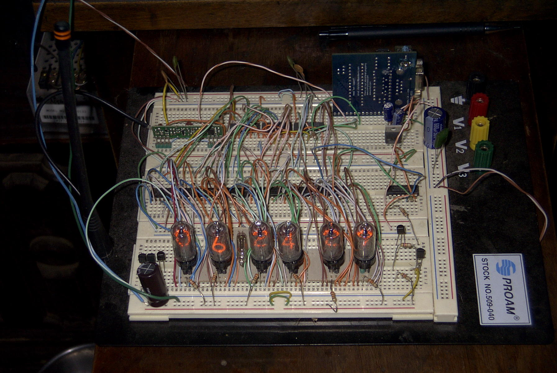 Atomic Nixie Clock Schematic That Would Mean Using A Micro Controller With At Least Many Pins Plus Some For Other Functions So Three Mm74hc595 Shift Registers Are Used To Reduce